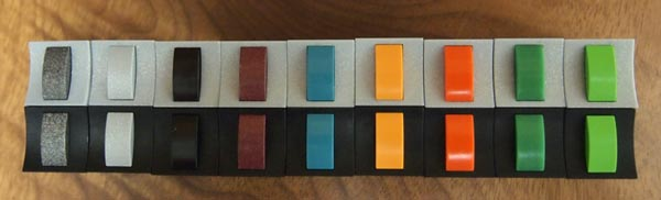 Dk Grey Metallic, Lt Grey Metallic, Black, Dk Red Metallic, Aqua, Yellow, Orange, Green, Mint